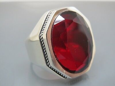 Turkish Handmade Jewelry 925 Sterling Silver Garnet Stone Men's Ring Sz 8