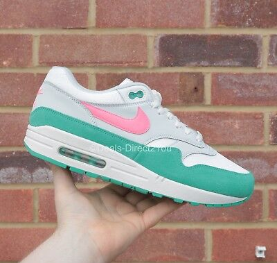"Nike Air Max 1 White/Sunset ""Watermelon / South Beach"" Size 8 9 10 11 12 UK NEW"