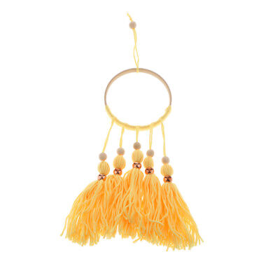 Blesiya Wooden Beads Tassel Ring Wall Hanging Ornament Kid Room Decor Yellow