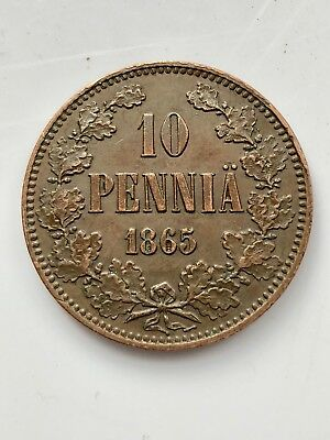 1865 Finland 10 Pennia Copper 250,000 mintage XF/AU50 High Condition