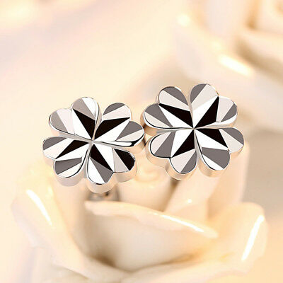 925 Sterling Silver Glossy Four-Leaf Clover Stud Earrings For Lucky Women Gift