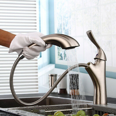 Nickel Brushed Kitchen Faucet Pull Out Sprayer Bathroom Basin Sink Mixer Tap US
