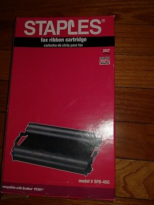 Staples fax ribbon cartridge model #SFB-45C(compatible with Brother PC301