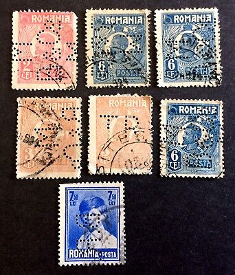 Perfins Romania - 9 interesting old used stamps