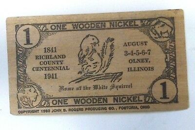 Rare Olney, IL. Richland County Centennial Souvenir 1941 Wooden Nickel