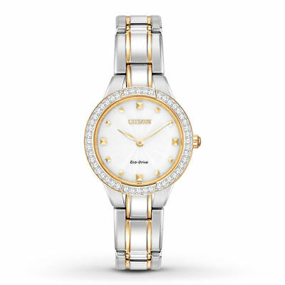 NEW* Citizen EX1364-59A Eco-Drive Silhouette Crystal Two Tone Women's Watch $295
