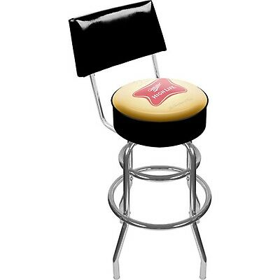 "Trademark Miller High Life 40"" Padded Bar Stool with Back, Chrome"