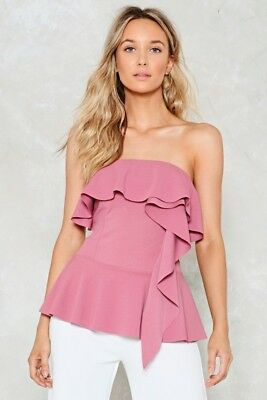 27d1b7edd93b NWT NASTY GAL Boogie Oogie Strapless Top in Rose
