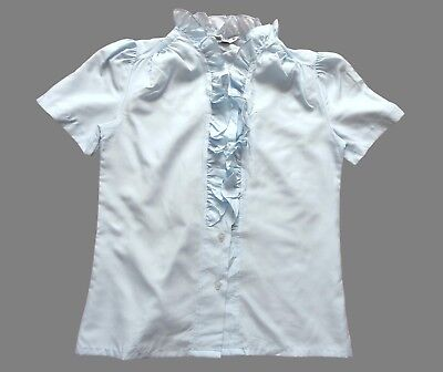 Women's Ladies Vintage 70's Pale Blue Ruffle Blouse Retro Boho 12
