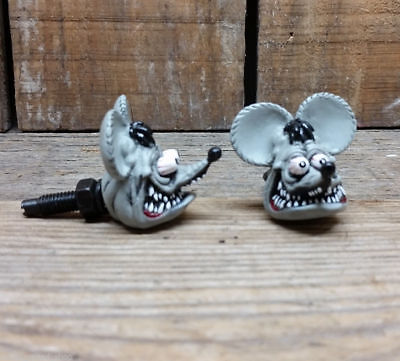 Rat Fink Head License Bolts 2 pieces Green or Gray