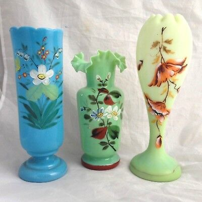 3 X Victorian Hand Painted Opaline Glass Vases - Bohemian ? English + Uranium AF
