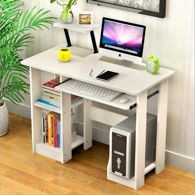 Wooden Computer Trolley Desk Keyboard Storage Shelves Home Office Small PC Table