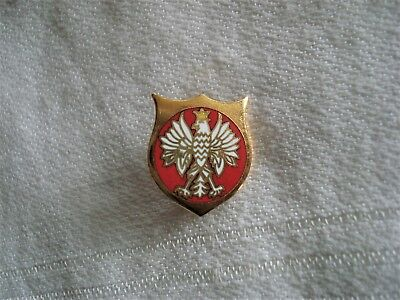 Vintage Polish Eagle Enamel & Gold Tone Crest Lapel Tack Pin - Old Stock