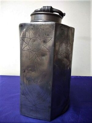 18th Century Screw Top pewter Bottle/Flask with Wrigglework Panels