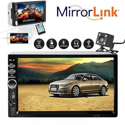 Double 2 DIN 7'' Car FM/MP5 HD Bluetooth Touch Screen Stereo Radio + Rear Camera