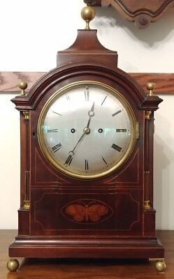 """Large Antique Inlaid English Double Fusee Bracket Mantle Clock - 24"""" Tall"""