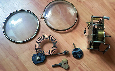 Mantle clock parts bundle, Enfield movement, glass bezels, chime, pendulum, key