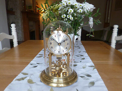 Stunning Vintage Mechanical 400 Day Anniversary Clock-Glass Dome-Fully Working