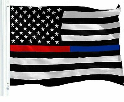 Thin Blue & Red Line Flag Respect and Honor Banner 3x5ft Flags 150D Polyester