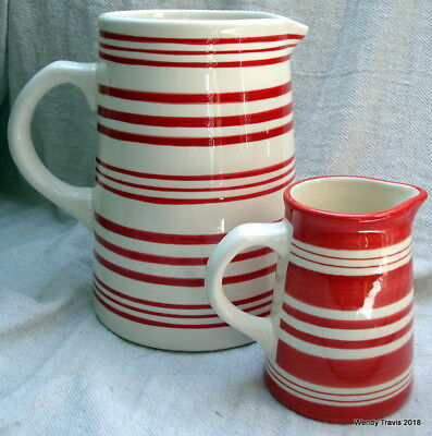 Two Delightful Red/white Striped  Laura Ashley Jugs/pitcher