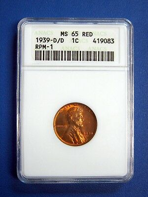 1939-D/d  Lincoln Cent. Anacs Ms65 Red. Rpm-1 D Over D Variety.