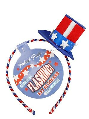 Patriot Pride USA Flashing Top Hat Headband 4th Of July Memorial Day Parties