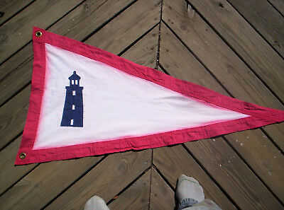 "Replica USLHS Lighthouse Flag Canvas 25"" x 48"" brass grommets weathered"