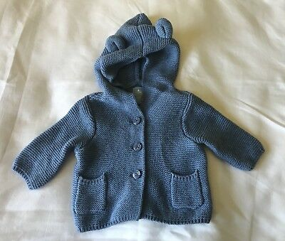 Gap Baby 0-3 Months Boys Hooded Button Sweater Blue Knit Cotton