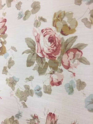 "Bennison ""Roses"" Fabric Yardage in Brown on Beige"