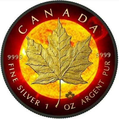 2015 SOLAR FLARE MAPLE LEAF $5 SILVER Coin, Ruthenium and 24 KT GOLD.