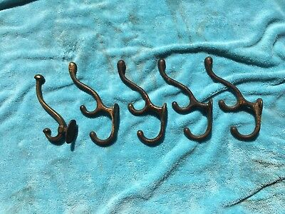 Lot of 5 Large Antique Iron Coat Hooks