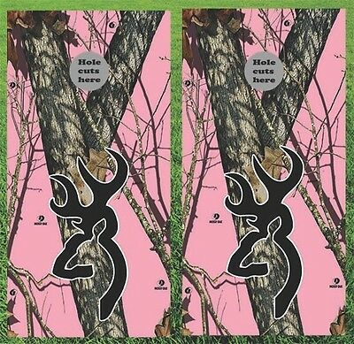 Deer Hunting Browning Pink Cornhole Wrap Decals Bag Toss 3M Vinyl 24x48""