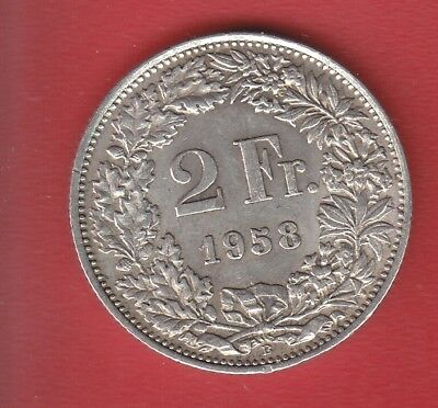 Switzerland 2 Francs 1958 Silver