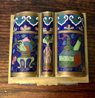 Antique Chinese Cloisonne Enamel and Brass Trinket Box Artist Signed