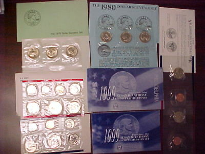 1979-1980-1981-1999 Susan B. Anthony Complete Brilliant Uncirculated Sets!!