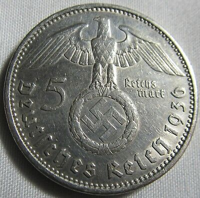 Germany 1936 A Silver 5 Reichsmark WWII