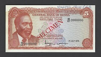 Kenya 5 Shillings 1-7-1978 P15s Specimen Uncirculated