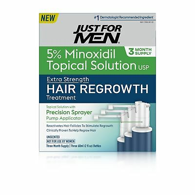 Just For Men Extra Strength Hair Regrowth Treatment, 5% Minoxidil Topical Sol...