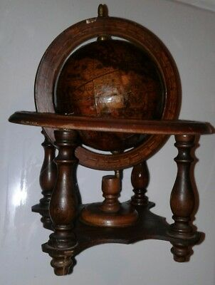 "SMALL GLOBE Old World Map/Zodiac Wood Desk Spinning Globe 9 1/2""  Mecurio D'oro"