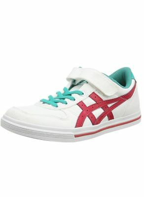 New Asics Aaron PS Kids C Sneakers Trainers Wht Red Sz EU 27 RRP- £60.00