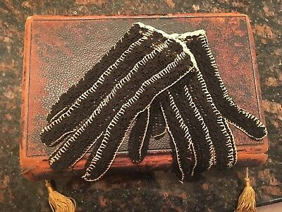 Delicate Pair Ladies Antique Gloves Hand Crocheted Black & White For Display