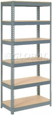 Extra Heavy Duty Shelving 36'W X 18'D X 72'H With 6 Shelves, Wood Deck