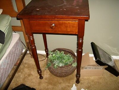 Walnut Federal Style One Drawer Night Stand with Crackled Finish