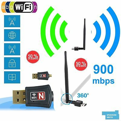 CHIAVETTA USB DONGLE WIFI 900Mbps ADATTATORE WIRELESS LAN  802.11N ANTENNA WIFI