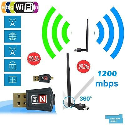 MINI ADATTATORE USB PC WIFI 900 MBPS ANTENNA CHIAVETTA WIRELESS Internet WIFI