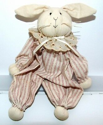 Vintage Collectible Hand Crafted Partially Stuffed Cloth Bunny Rabbit