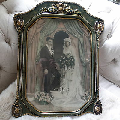 Original Antique Large Wedding Photo Hand-Colored in Ornate Carved Wooden Frame