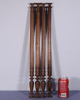 "Set of Four 22"" Antique Walnut Wood Baluster Posts, Pillars or Columns"