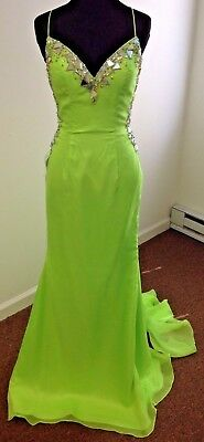 Size 4~Lime Green Prom Gown w/Low Back~String Corset -Lace-up~ Johnathan Kayne