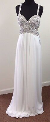 Size 4 White w/ Silver Beading~Low Back & Side Cutouts~Long Prom Gown ~Faviana